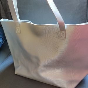 NWT Silver metallic large tote PVC material